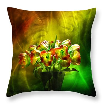 Throw Pillow featuring the digital art Reggae Tulips by Johnny Hildingsson