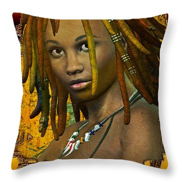 Throw Pillow featuring the digital art Reggae Woman by Shadowlea Is