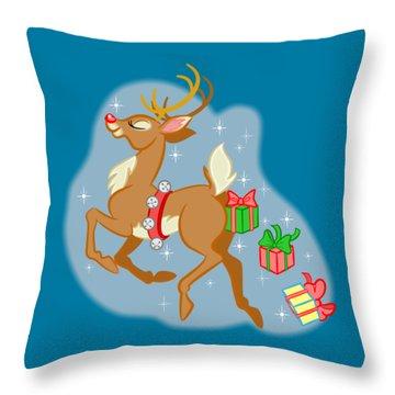 Naughty Reindeer Throw Pillow