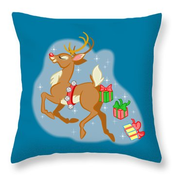 Reindeer Gifts Throw Pillow