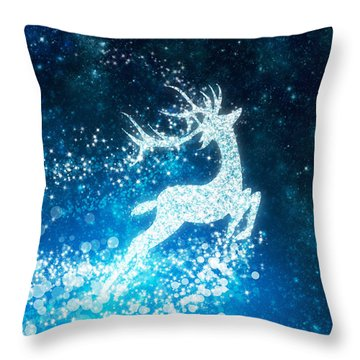 Reindeer Stars Throw Pillow