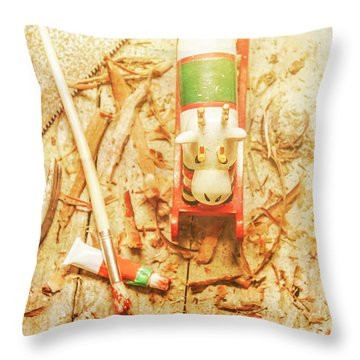 Reindeer With Tools And Wood Shavings Throw Pillow