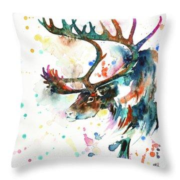 Throw Pillow featuring the painting Reindeer by Zaira Dzhaubaeva