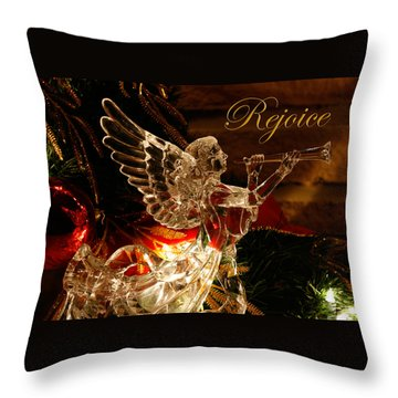 Throw Pillow featuring the photograph Rejoice Crystal Angel by Denise Beverly