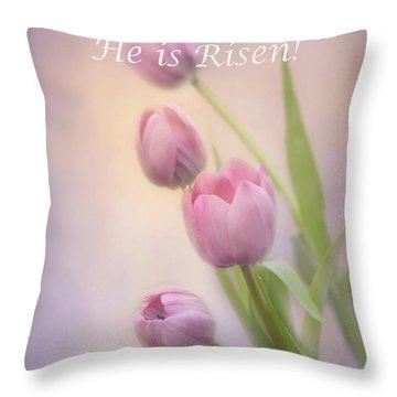Rejoice He Is Risen Throw Pillow by Ann Bridges