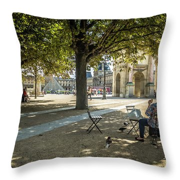 Relaxing Afternoon In Paris Throw Pillow