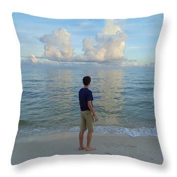Relaxing By The Ocean Throw Pillow