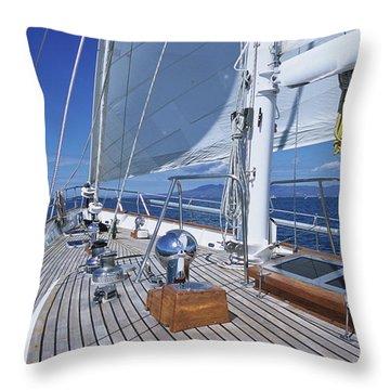 Relaxing On Deck Throw Pillow
