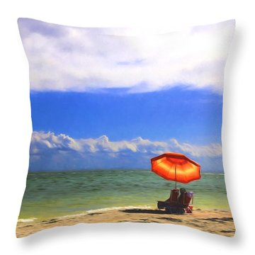 Relaxing On Sanibel Throw Pillow