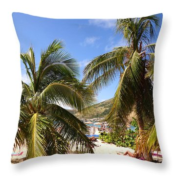 Relaxing On The Beach. Pinel Island Saint Martin Caribbean Throw Pillow
