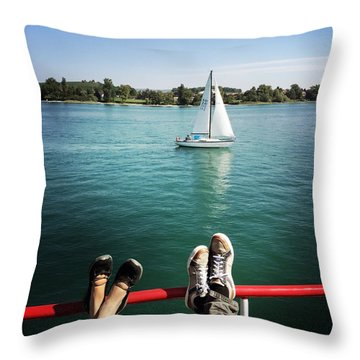 Relaxing Summer Boat Trip Throw Pillow