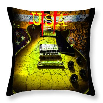 Relic Guitar Music Patriotic Usa Flag Throw Pillow
