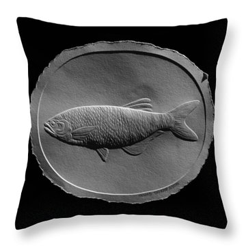 Relief Drawing Of A Freshwater Fish Throw Pillow by Suhas Tavkar