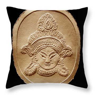 Relief Drawing Of Goddess Durga Devi  Throw Pillow by Suhas Tavkar