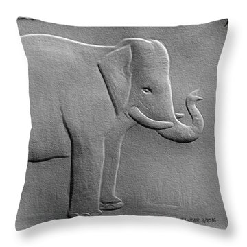 Relief Elephant Drawing Throw Pillow