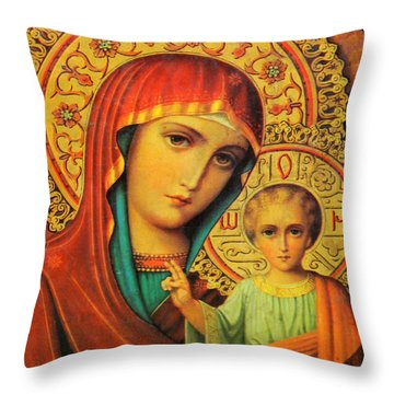 Religion In Red Throw Pillow by Munir Alawi