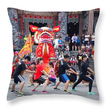 Throw Pillow featuring the photograph Religious Martial Arts Performance In Taiwan by Yali Shi