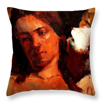 Religious Portrait Of A Young Boy Man Or Woman Reclining In Dramatic Thought Mystery Strong Cont Throw Pillow