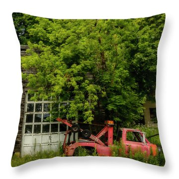 Remains Of An Old Tow Truck And Garage Throw Pillow by Ken Morris