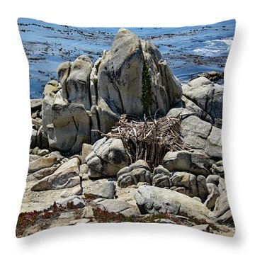 Remains Of Ancient Rocks At Carmel Point Throw Pillow