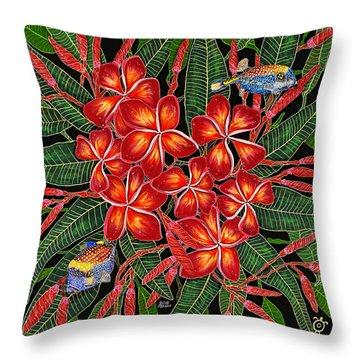 Throw Pillow featuring the painting Tropical Fish Plumerias by Debbie Chamberlin