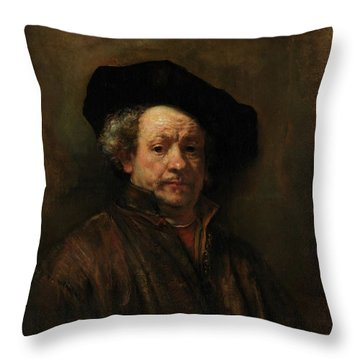 Throw Pillow featuring the painting Rembrandt Self Portrait by Rembrandt van Rijn