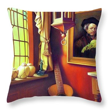 Rembrandt's Hurdy-gurdy Throw Pillow by Patrick Anthony Pierson