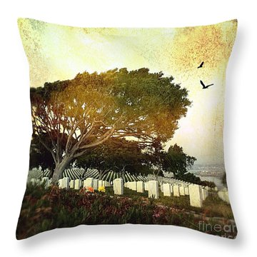 Throw Pillow featuring the digital art Remembering At Point Loma by Delona Seserman