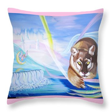 Throw Pillow featuring the painting Remembering Childhood Dreams by Phyllis Kaltenbach