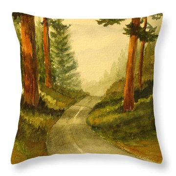Remembering Redwoods Throw Pillow by Marilyn Jacobson