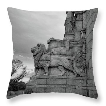 Throw Pillow featuring the photograph Remembrance Lions by Ross Henton