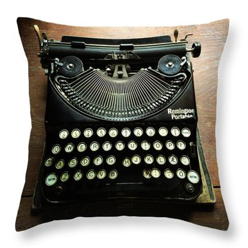 Remington Portable Old Used Typewriter Throw Pillow