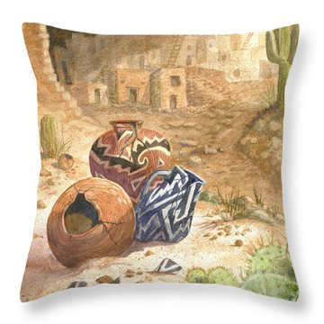 Throw Pillow featuring the painting Remnants Of The Ancient Ones by Marilyn Smith