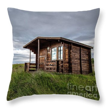 Throw Pillow featuring the photograph Remote Cabins Myvatn Iceland by Edward Fielding