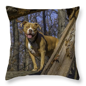 Remy In Tree Oil Paint More Pop Throw Pillow
