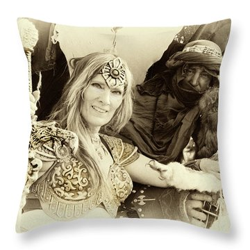 Throw Pillow featuring the photograph Renaissance Festival Barbarians by Bob Christopher