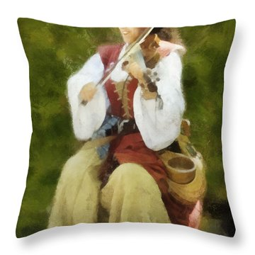 Throw Pillow featuring the digital art Renaissance Fiddler Lady by Francesa Miller