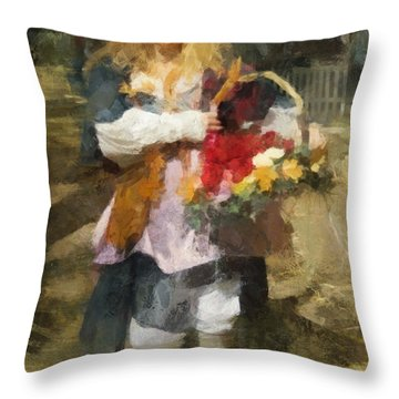 Throw Pillow featuring the digital art Renaissance Flower Lady by Francesa Miller
