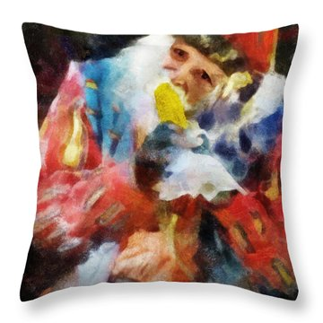 Throw Pillow featuring the digital art Renaissance Man With Corn On The Cob by Francesa Miller