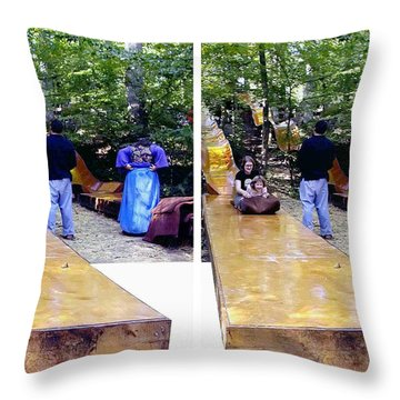 Throw Pillow featuring the photograph Renaissance Slide - Gently Cross Your Eyes And Focus On The Middle Image by Brian Wallace