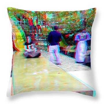 Throw Pillow featuring the photograph Renaissance Slide - Red-cyan 3d Glasses Required by Brian Wallace