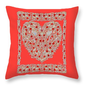 Renaissance Style Heart Throw Pillow