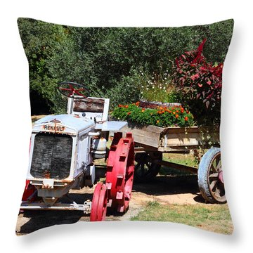 Throw Pillow featuring the photograph Renault Flower Bed by Richard Patmore