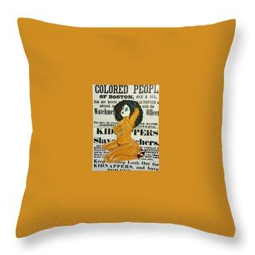 Renee  Caution Throw Pillow by Deedee Williams