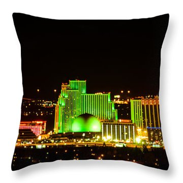 Throw Pillow featuring the photograph Reno At Night by Janis Knight