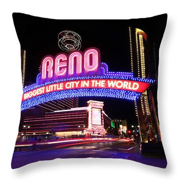 Reno - The Biggest Little City In The World Throw Pillow by Shawn Everhart