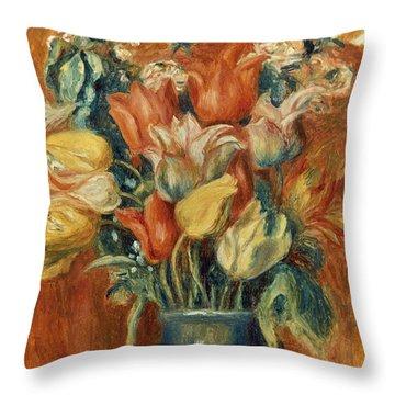 Renoir: Bouquet Of Tulips Throw Pillow by Granger