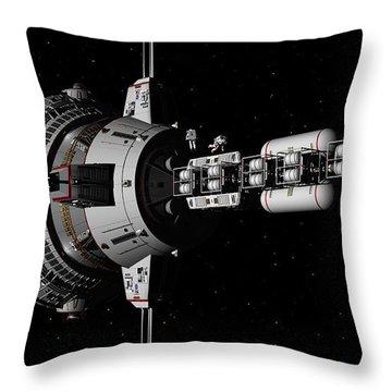 Repairs In Space Throw Pillow