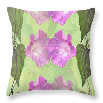 Repeated Morning Glories Throw Pillow by Rosalie Scanlon