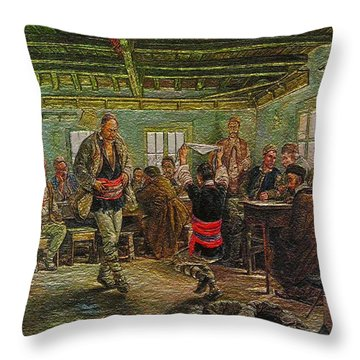 Throw Pillow featuring the painting replica of Ruchenitsa by Nikola Tanev by Pemaro